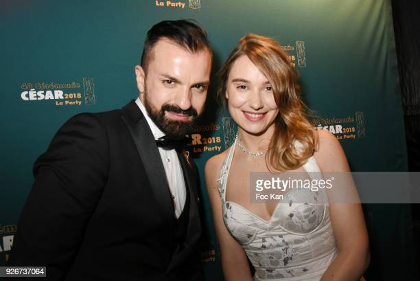 Fashion designer Julien Fournie and actress Deborah Francois attend at the Cesar Film Awards 2018 After Party at Le Queen on March 2, 2018 in Paris,...