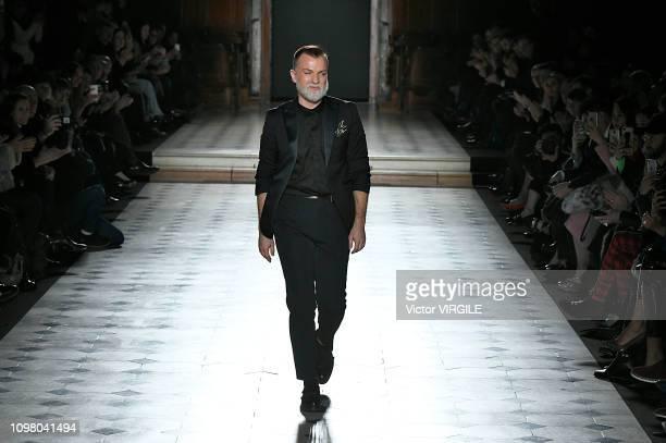 Fashion designer Julien Fournie walks the runway during the Julien Fournie Haute Couture Spring Summer 2019 fashion show as part of Paris Fashion...
