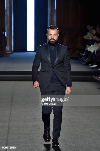 Fashion designer Julien Fournie walks the runway during the Julien Fournie Haute Couture Spring Summer 2018 show as part of Paris Fashion Week on...