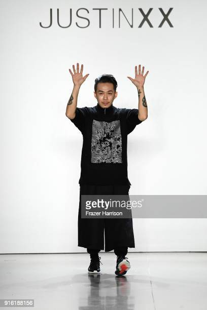 Fashion Designer Justin YuYing Chou takes a bow for Just In XX presentation during New York Fashion Week The Shows at Gallery II at Spring Studios on...