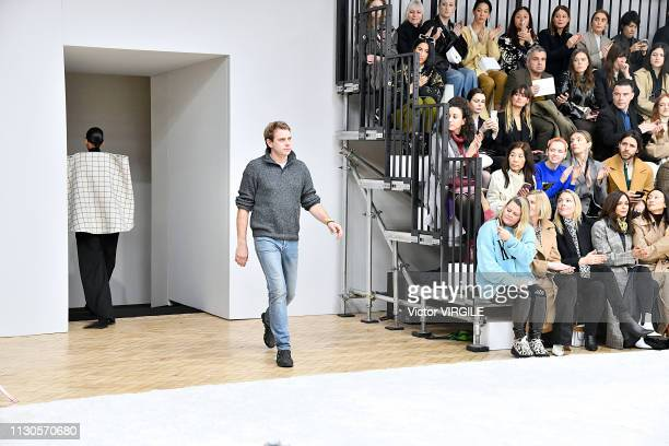 Fashion designer JW Anderson walks the runway at the JW Anderson Ready to Wear Fall/Winter 20192020 fashion show during London Fashion Week February...