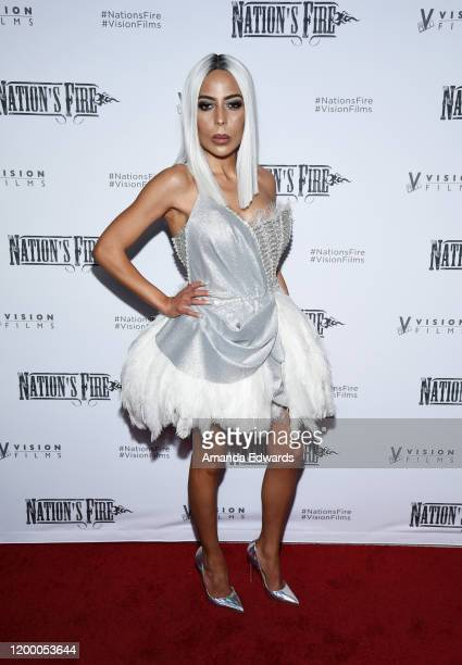 Fashion designer Kaila Methven arrives at the world premiere of Nation's Fire at the Landmark Theater on January 16 2020 in Los Angeles California