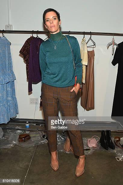 Fashion designer Karen Walker backstage at the Karen Walker fashion show during Fall 2016 New York Fashion Week at Pier 59 Studios on February 15,...