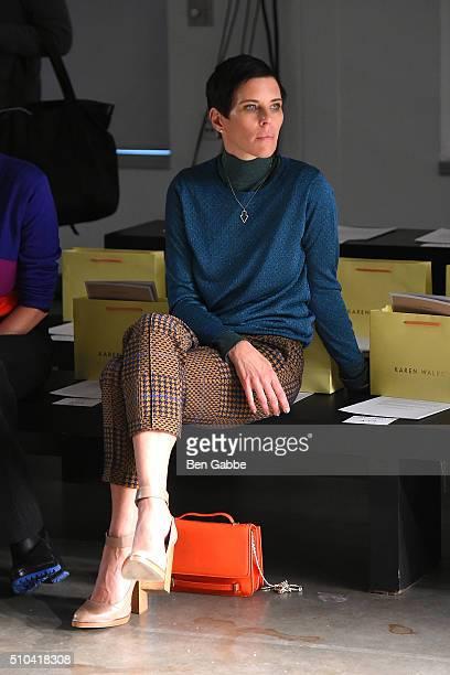 Fashion designer Karen Walker views rehearsal at the Karen Walker fashion show during Fall 2016 New York Fashion Week at Pier 59 Studios on February...