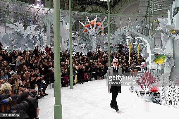 Fashion designer Karl Lagerfeld acknowledges the applause of the audience after the Chanel show as part of Paris Fashion Week Haute Couture...