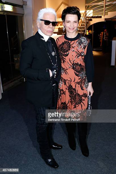 Fashion Designer Karl Lagerfeld and Actress Juliette Binoche attend the Annual Charity Dinner hosted by the AEM Association Children of the World for...