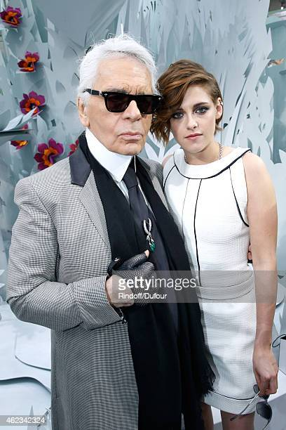 Fashion Designer Karl Lagerfeld and actress Kristen Stewart pose after the Chanel show as part of Paris Fashion Week Haute Couture Spring/Summer 2015...