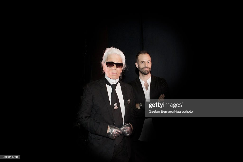Fashion designer Karl Lagerfeld and choreographer Benjain Millepied are photographed for Madame Figaro on June 27, 2016 in Paris, France. Karl Lagerfeld designed sets and costumes and Benjain Millepied choreographed the Balanchine ballet Brahms-Schoenberg Quartet at the Paris Opera. PUBLISHED IMAGE.