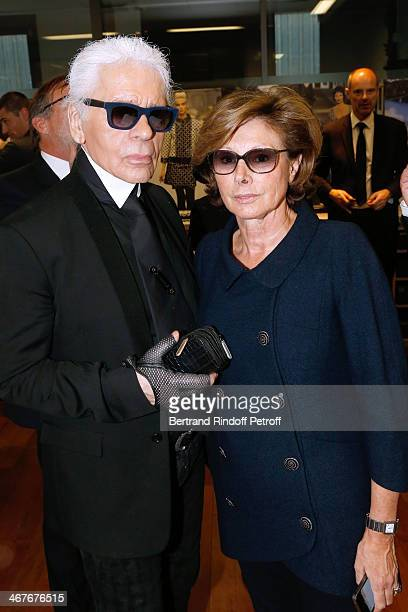 Fashion designer Karl Lagerfeld and Director General for External Relations at Chanel MarieLouise de Clermont Tonnerre at the showroom of 'Maison...