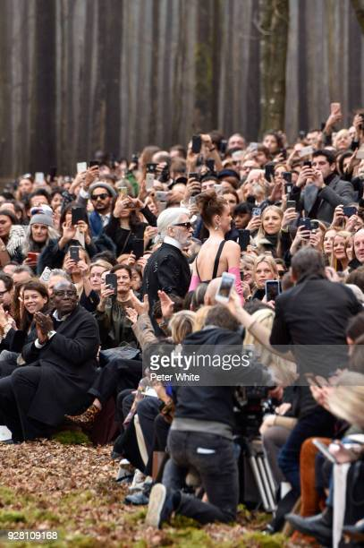 Fashion designer Karl Lagerfeld and Luna Bijl walk the runway after the Chanel show as part of the Paris Fashion Week Womenswear Fall/Winter...