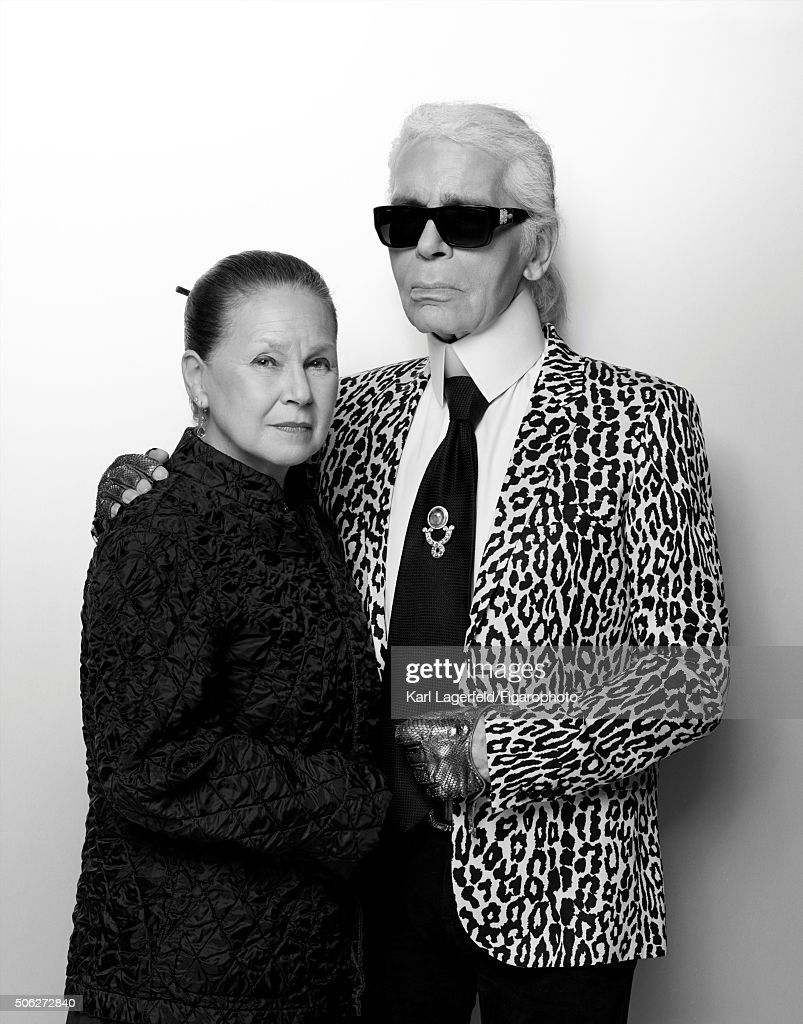 Fashion designer Karl Lagerfeld and Madame Figaro fashion editor Nicole Picart are photographed for Madame Figaro on November 18, 2015 in Paris, France. PUBLISHED IMAGE.