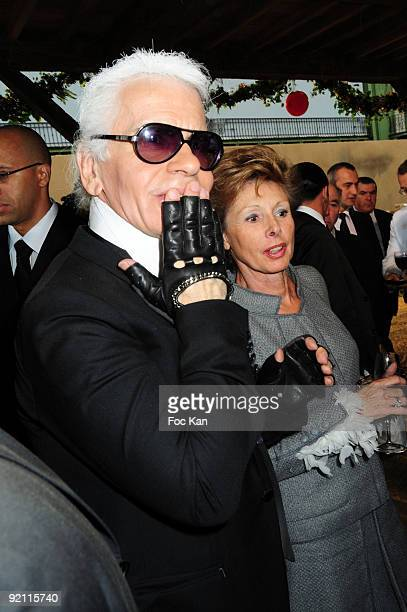 Fashion designer Karl Lagerfeld and Marie Louise de Clermont Tonnerre attend the Chanel Paris Fashion Week Spring/Summer 2010 at the Grand Palais on...