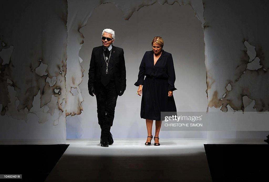 483ec295db25 Fashion designer Karl Lagerfeld and Silvia Fendi acknowledge the ...