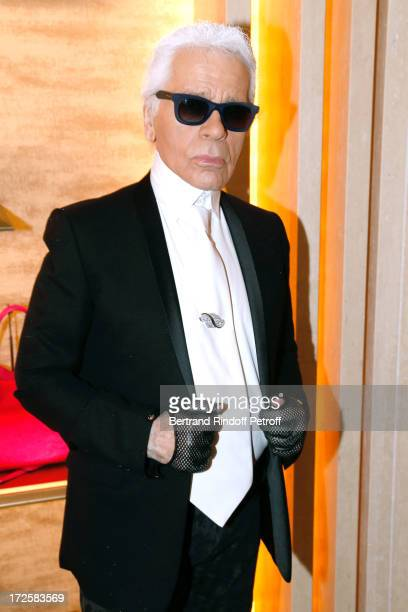 Fashion Designer Karl Lagerfeld attend the Avenue Montaigne Fendi new shop opening party which will be followeed by 'The Glory Of Water' Karl...