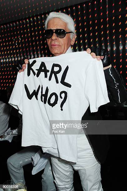 Fashion designer Karl Lagerfeld attends the Karl Lagerfeld and DJ Big Ali Party at the VIP Room St Tropez on August 12 2009 in St Tropez France