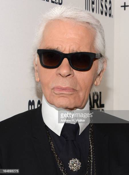 Fashion designer Karl Lagerfeld attends the Melissa Karl Lagerfeld launch event at 102 Greene St on March 26 2013 in New York City