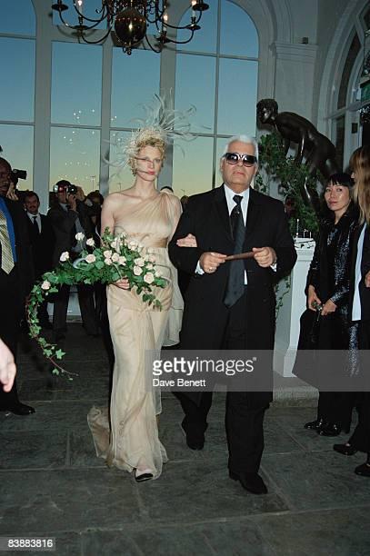 Fashion designer Karl Lagerfeld gives away supermodel Kristen McMenamy at her wedding to photographer Miles Aldridge in Kensington 21st October 1997
