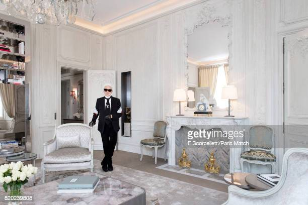 Fashion designer Karl Lagerfeld is photographed at the Crillon hotel for Paris Match on June 14 2017 in Paris France