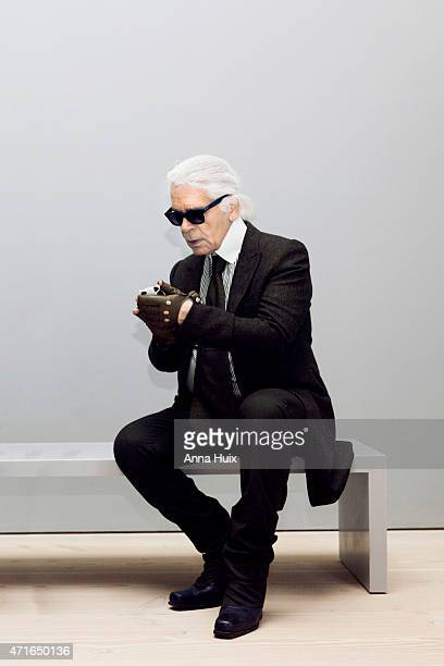 Fashion designer Karl Lagerfeld is photographed for Another magazine on October 11 2012 in London England
