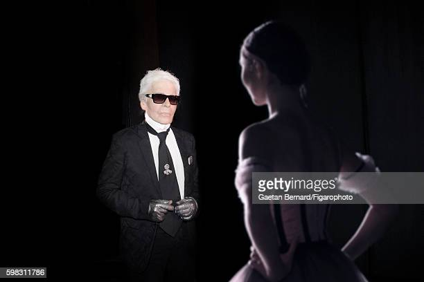 Fashion designer Karl Lagerfeld is photographed for Madame Figaro on June 27 2016 in Paris France Karl Lagerfeld designed sets and costumes for the...