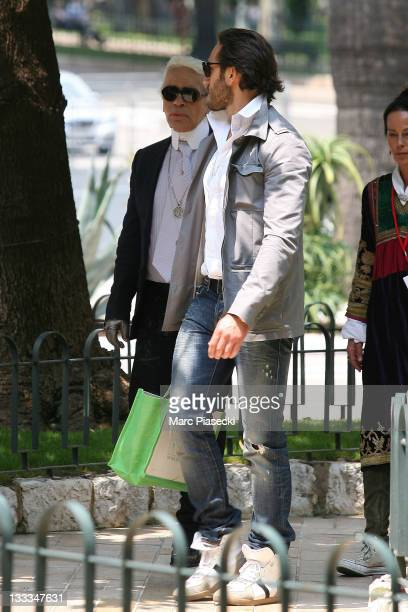 Fashion designer Karl Lagerfeld is sighted around the 'Hermitage' hotel before the Royal Wedding of Prince Albert II of Monaco to Charlene Wittstock...