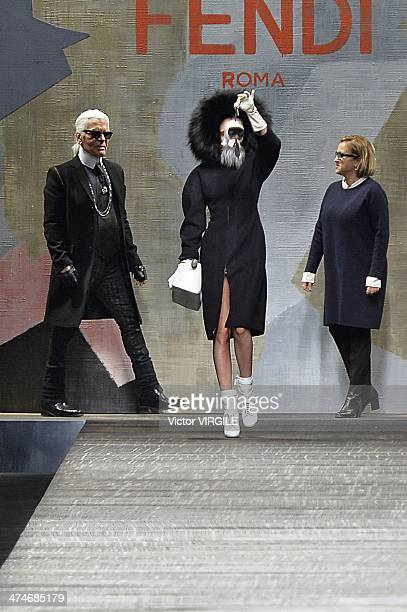 Fashion designer Karl Lagerfeld model Cara Delevingne and Silvia Venturini Fendi walk the runway during the Fendi Ready to Wear Fall/Winter 20142015...