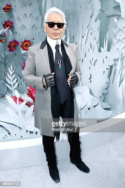 Fashion Designer Karl Lagerfeld poses after the Chanel show as part of Paris Fashion Week Haute Couture Spring/Summer 2015 on January 27 2015 in...