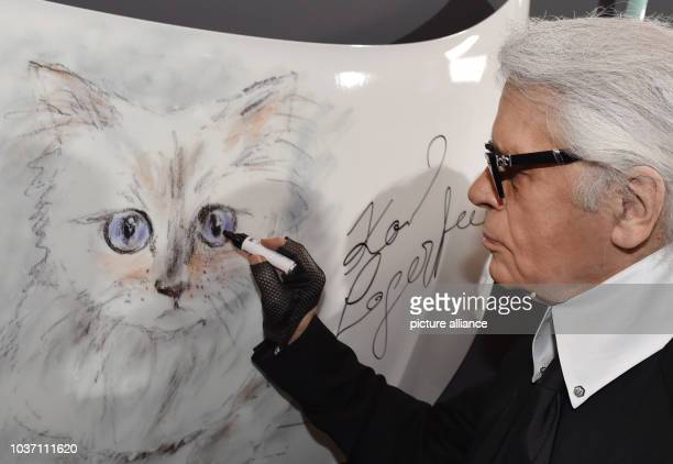 Fashion designer Karl Lagerfeld stands next to a drawing of his Birman cat at the vernissage for his photo calender 'Corsa Karl and Choupette' at the...