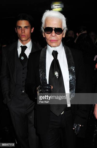 Fashion Designer Karl Lagerfeld Top Model Baptiste Giabiconi attend the Gossip Concert Party Hosted by Fendi at the VIP Room Thater on March 12 2009...