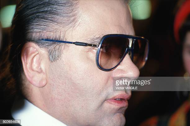 Fashion designer Karl Lagerfeld walks the runway during the Chanel show as part of Paris Fashion Week Fall/Winter 19851986 in March 1985 in Paris...