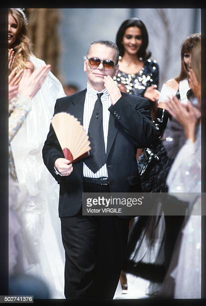 Fashion designer Karl Lagerfeld walks the runway during the Chanel Haute Couture show as part of Paris Fashion Week Fall/Winter 1991-1992 in July,...