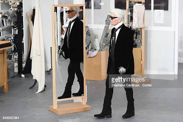 Fashion designer Karl Lagerfeld walks the runway during the Chanel Haute Couture Fall/Winter 20162017 show as part of Paris Fashion Week on July 5...