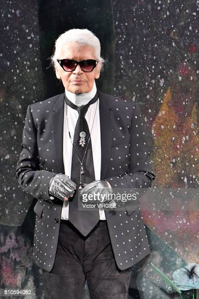 Fashion designer Karl Lagerfeld walks the runway during the Fendi Haute Couture Fall/Winter 20172018 show as part of Haute Couture Paris Fashion Week...