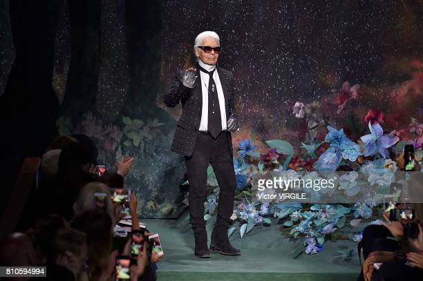 Fashion designer Karl Lagerfeld walks the runway during the Fendi Haute Couture Fall/Winter 2017-2018 show as part of Haute Couture Paris Fashion...