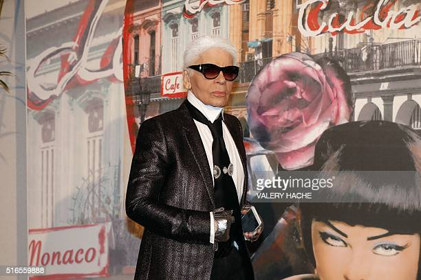 Fashion designer Karl Lagerfield arrives for the annual Rose Ball at the MonteCarlo Sporting Club in Monaco on March 19 2016 The Rose Ball is one of...