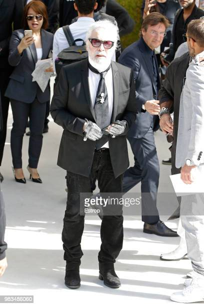 Fashion designer Karl Lagerfield during the Dior Homme Menswear Spring/Summer 2019 show as part of Paris Fashion Week on June 23 2018 in Paris France