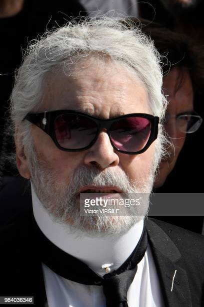Fashion designer Karl Lagerfield during the Dior Homme Menswear Spring/Summer 2019 fashion show as part of Paris Fashion Week on June 23 2018 in...