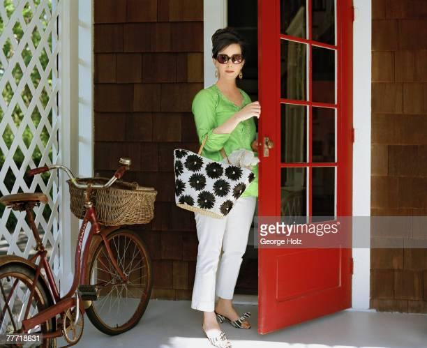 Fashion designer Kate Spade is photographed for InStyle Magazine on May 15 2002 at home in Southampton New York