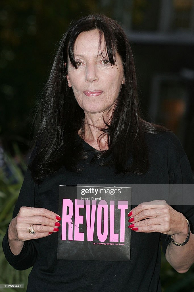 Fashion designer Katharine Hamnett poses outside the Imperial War Museum to launch Revolt's new single, the antiwar song 'Call It What You Want,' on October 29, 2007 in London, England.