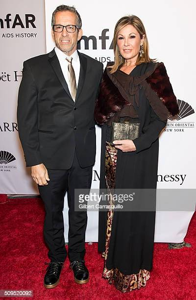 Fashion designer Kenneth Cole and Film producer Maria Cuomo Cole attend the 2016 amfAR New York Gala at Cipriani Wall Street on February 10 2016 in...
