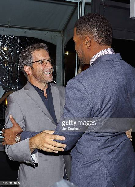 Fashion designer Kenneth Cole and retired football player/TV personality Michael Strahan attend the JCPenney x Michael Strahan launch party at...