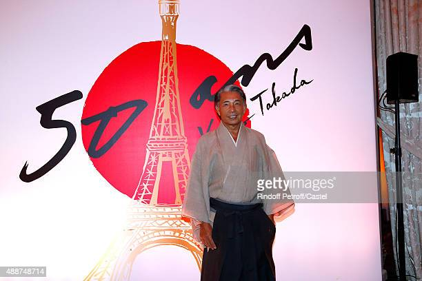 Fashion designer Kenzo Takada attends his 50 Years of Life in Paris Celebration at Restaurant Le Pre Catelan on September 17 2015 in Paris France