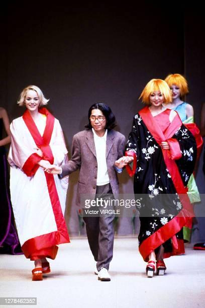 Fashion designer Kenzo Takada walks the runway at the Kenzo Ready to Wear Fall/Winter 1996 fashion show during Paris Fashion Week on March 25, 1996...