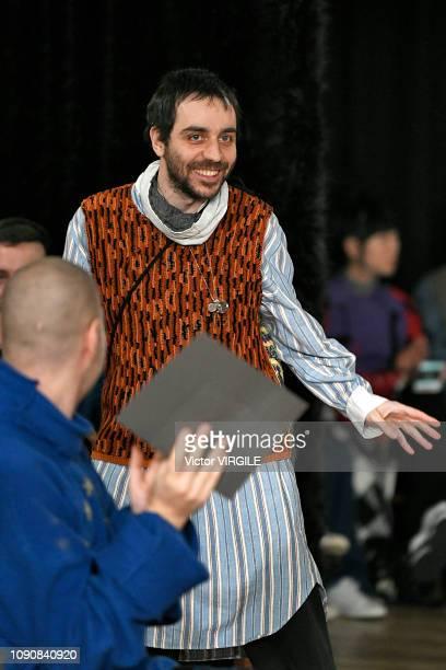 Fashion designer Kiko Kostadinov walks the runway at the Kiko Kostadinov Fall/Winter 20192020 fashion show during London Fashion Week Men's January...