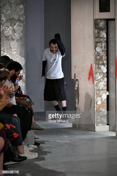 Fashion designer Kiko Kostadinov walks the runway at the Kiko Kostadinov fashion show during the London Fashion Week Men's June 2017 Spring Summer...