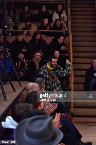 Fashion designer Kiko Kostadinov walks the runway at the Kiko Kostadinov Fall/Winter 2018/2019 show during London Fashion Week Men's January 2018 at...