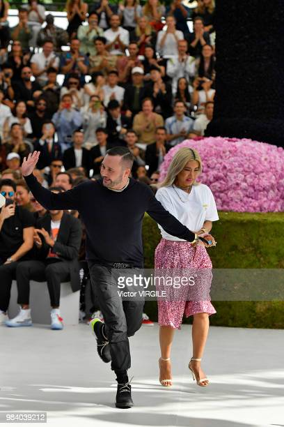Fashion designer Kim Jones walks the runway during the Dior Homme Menswear Spring/Summer 2019 fashion show as part of Paris Fashion Week on June 23...