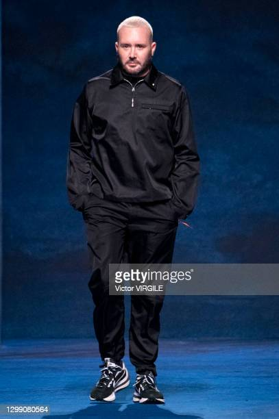 Fashion designer Kim Jones walks the runway during the Dior Hommes Ready to Wear Fall/Winter 2021-2022 fashion show as part of the Paris Men Fashion...