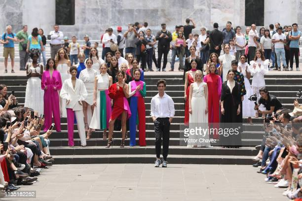 Fashion designer Kris Goyri walks the runway during MercedesBenz Fashion Week Mexico Fall/Winter 2019 Day 5 at Bosque de Chapultepec Mexico on April...