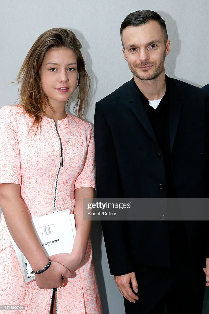Fashion designer Kris Van Assche and actress Adele Exarchopoulos backstage after Dior Homme Menswear Spring/Summer 2014 Show as part of the Paris Fashion Week on June 29, 2013 in Paris, France.